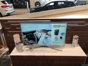 TV avec affichage commercial pour concessionaire BMW à Luxembourg