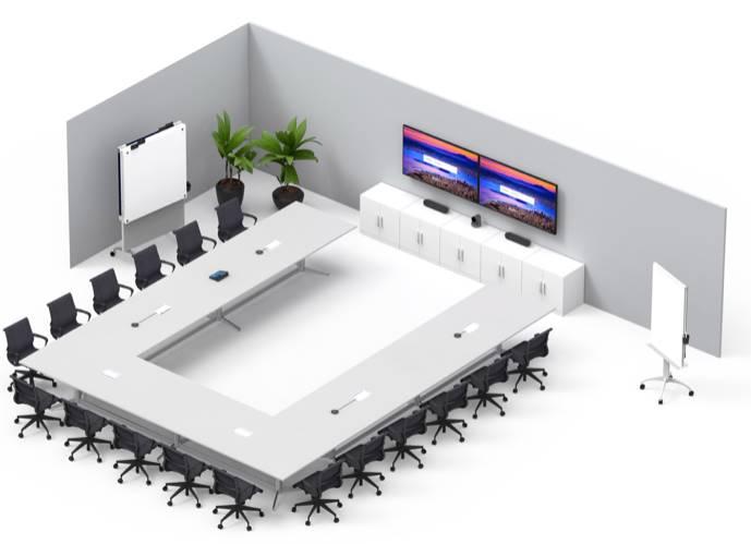 Exemple photo d'une installation Logitech TAP Room avec les produit ZOOM ou Microsoft Teams